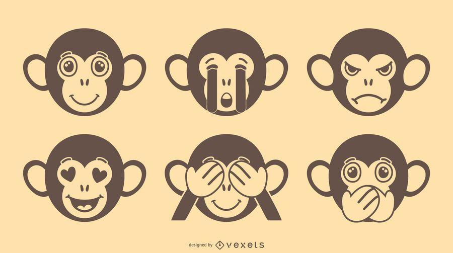 Monkey Emoji Vector Set