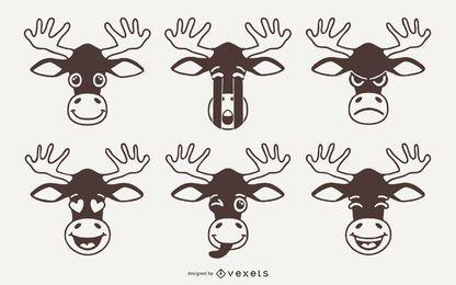 Elch Emoji Vector Set