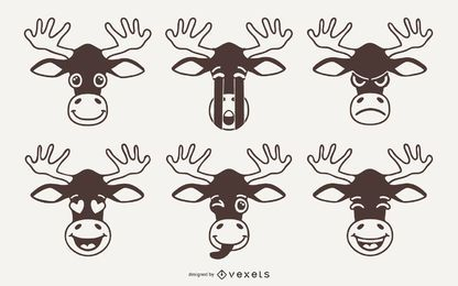 Moose Emoji Vector Set