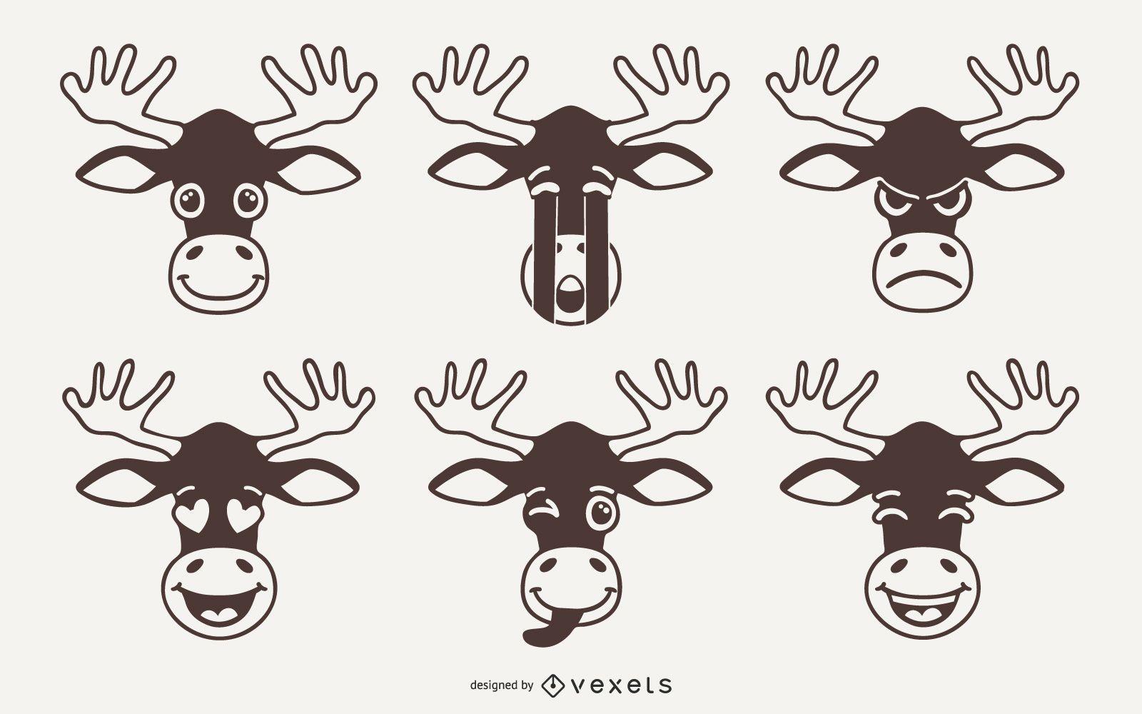 Moose Emoji Vector Set