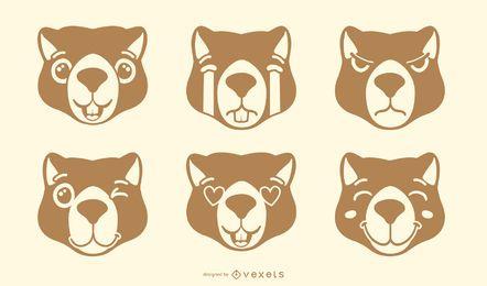Otter Emoji Vektor festgelegt