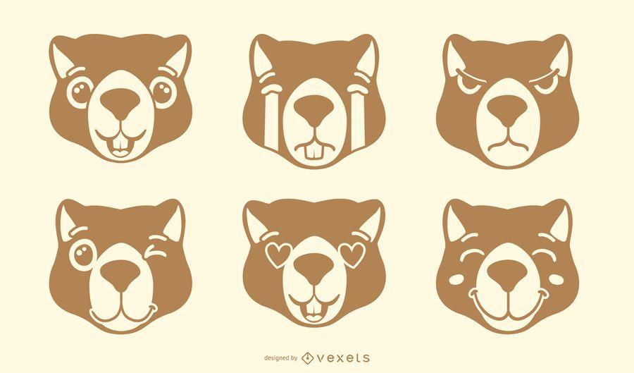 Conjunto de vetores de emoji lontra