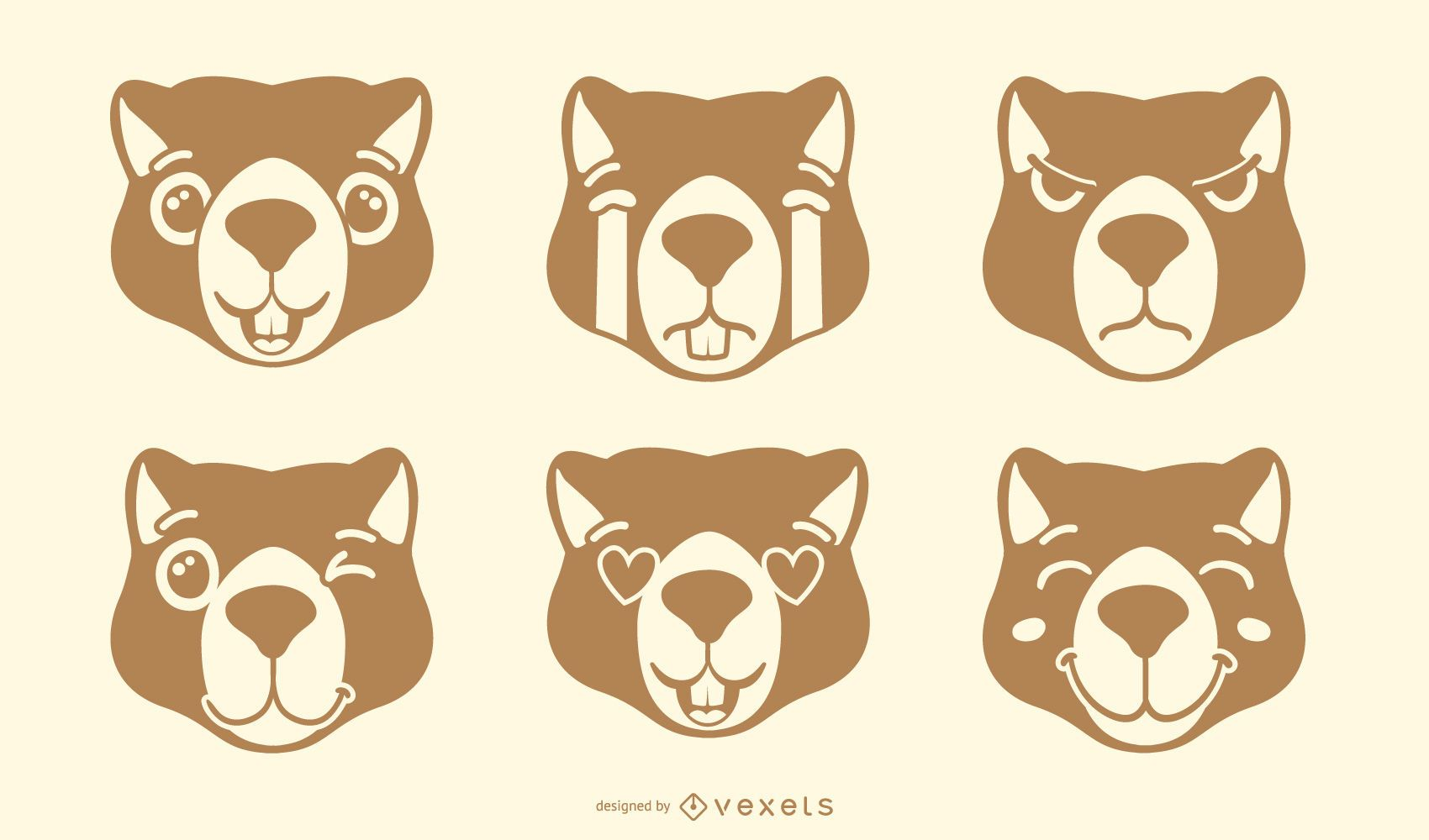 Nutria emoji conjunto de vectores