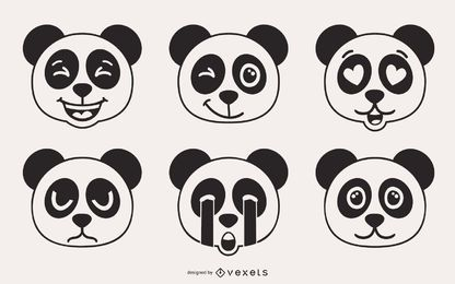 Panda Bear Emoji Vector Set