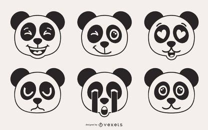 Panda Urso Emoji Vector Set