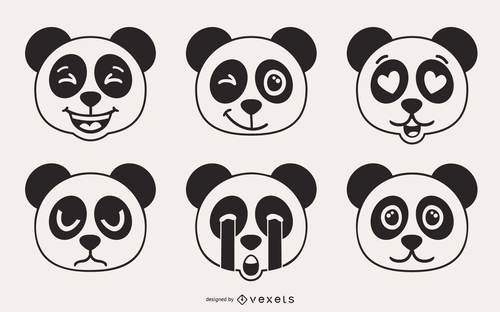 Conjunto de vectores de emoji de oso panda