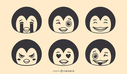 Penguin Emoji Vector Set