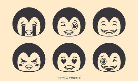 Pinguin Emoji Vector Set