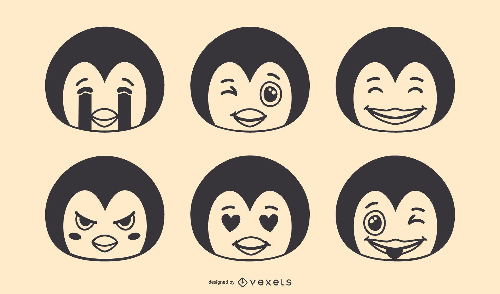 Penguin Emoji Vector Set