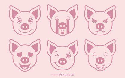 Conjunto de vectores de emoji de cerdo