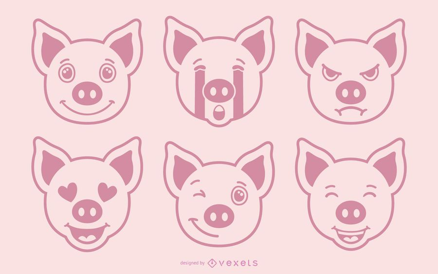 Pig Emoji Vector Set