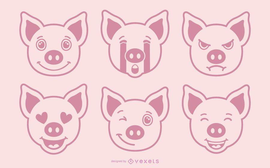 Schwein Emoji Vector Set