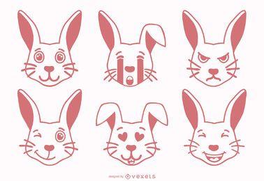 Conjunto de Emojis de Coelho
