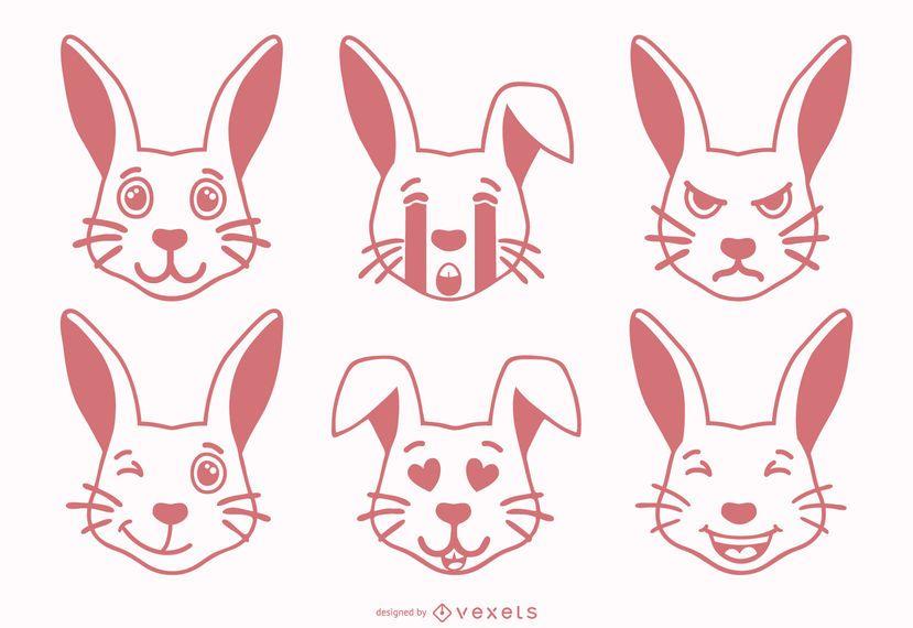 Rabbit Emoji Set