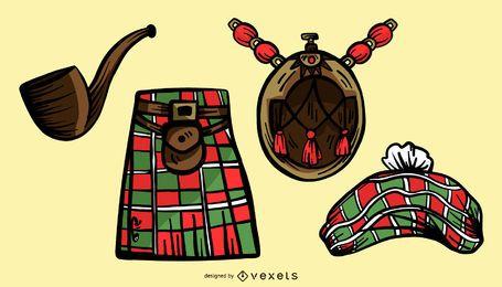 Conjunto de vectores de ilustración de elementos de Escocia