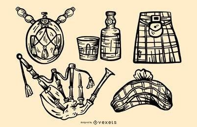 Scottish Stroke Elements Vector Set