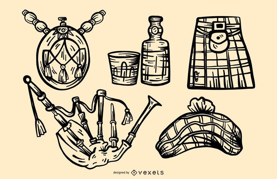 Conjunto de vetores de elementos de traçado escocês
