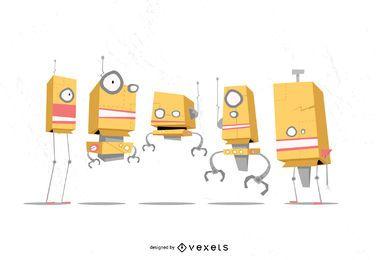 Conjunto de vectores de dibujos animados de robot