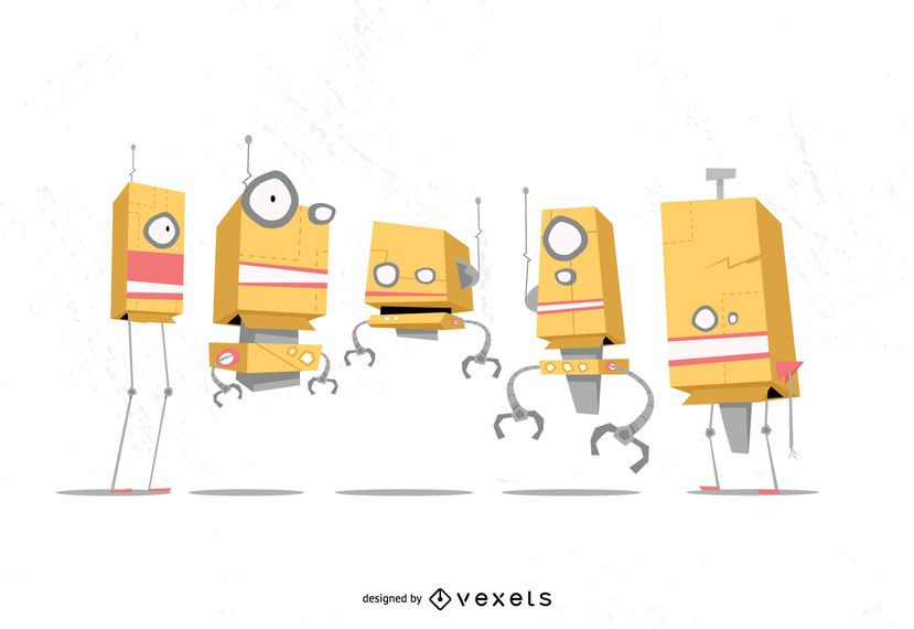 Robot Cartoon Vector Set