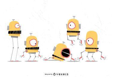 Lustiger Roboter-Karikatur-Vektor-Satz