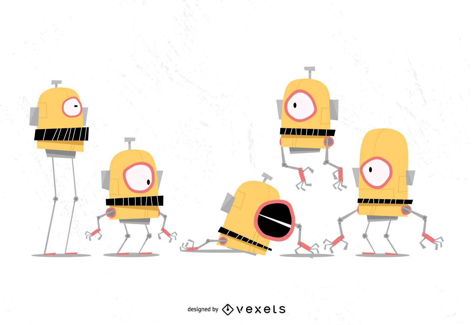 Conjunto de vectores de dibujos animados de robot divertido