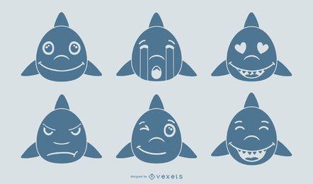 Conjunto de vetores de Emoji de tubarão