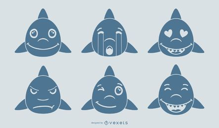 Shark Emoji Vector Set