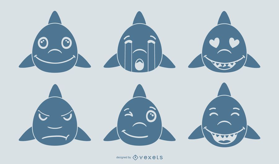 Shark Emoji Vector Set