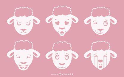 Schafe Emoji Vector Set