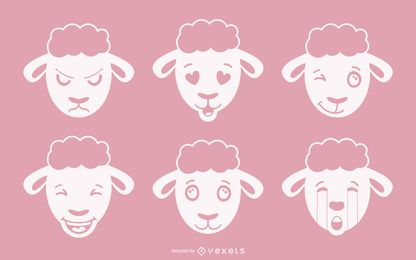 Sheep Emoji Vector Set