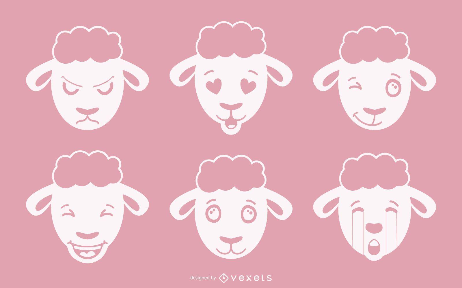 Conjunto de vectores de emoji de ovejas