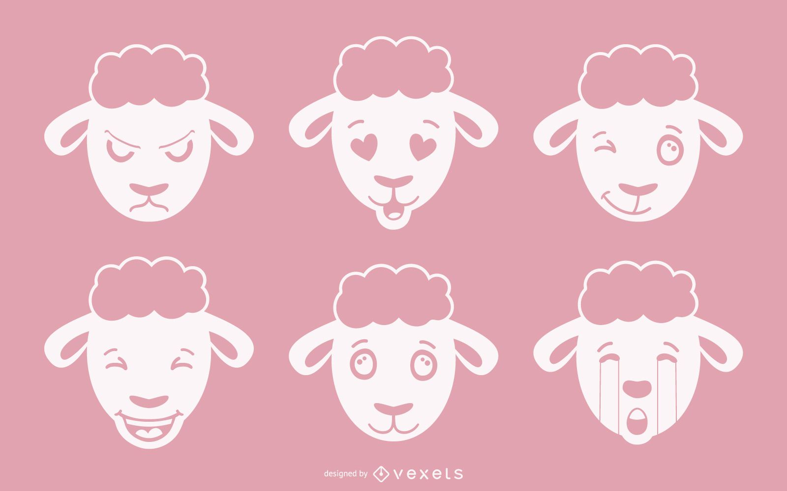 Sheep Emoji Vector Set