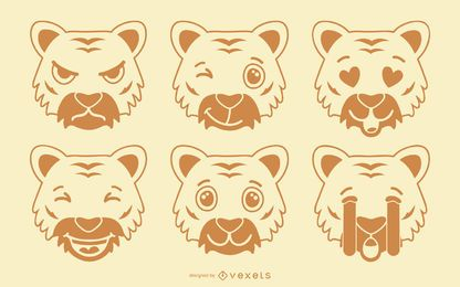 Conjunto tigre emoji