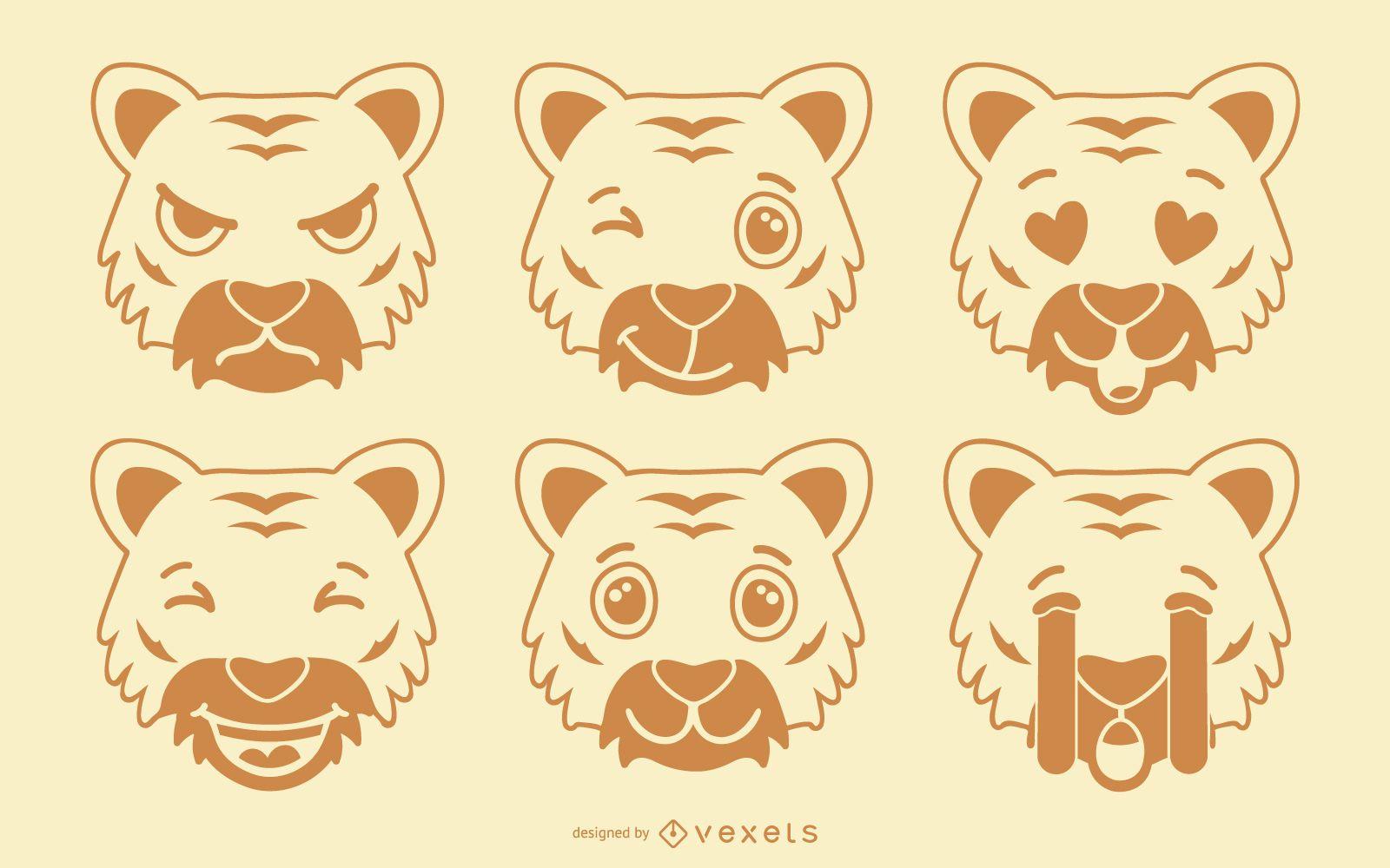Conjunto de emoji de tigre