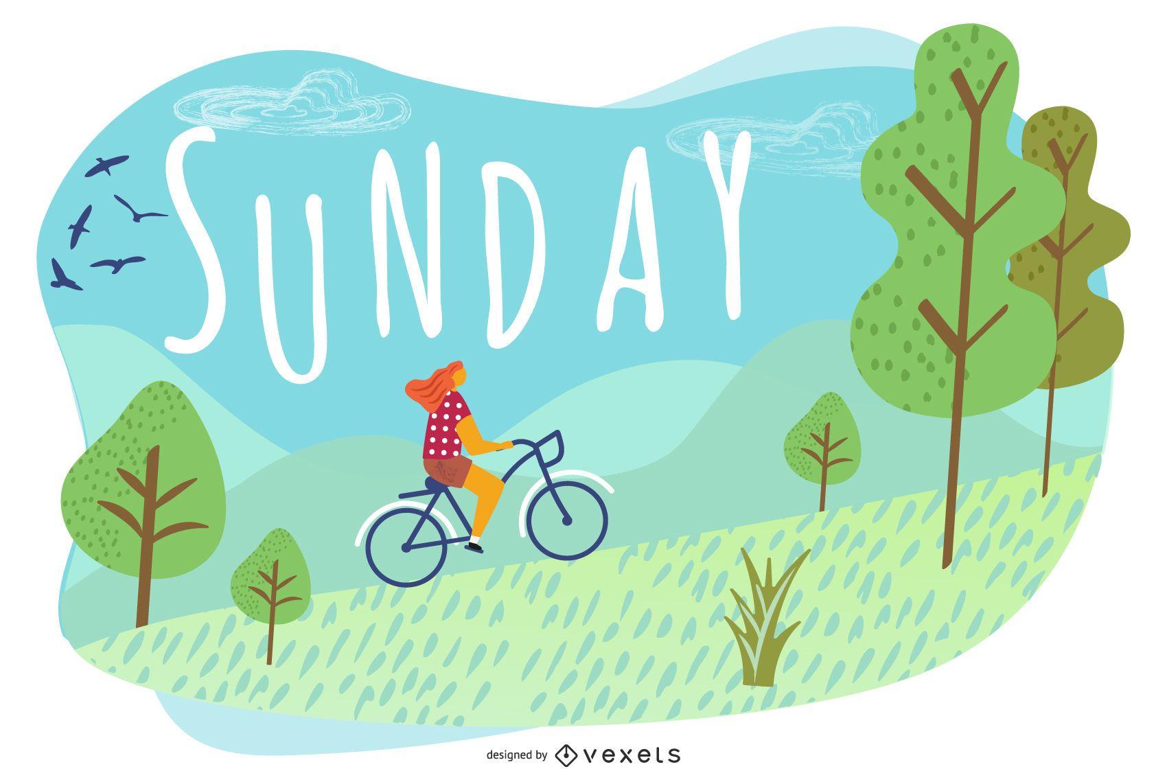 Sunday Cartoon Illustration Design