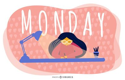 Monday Cartoon Illustration Design