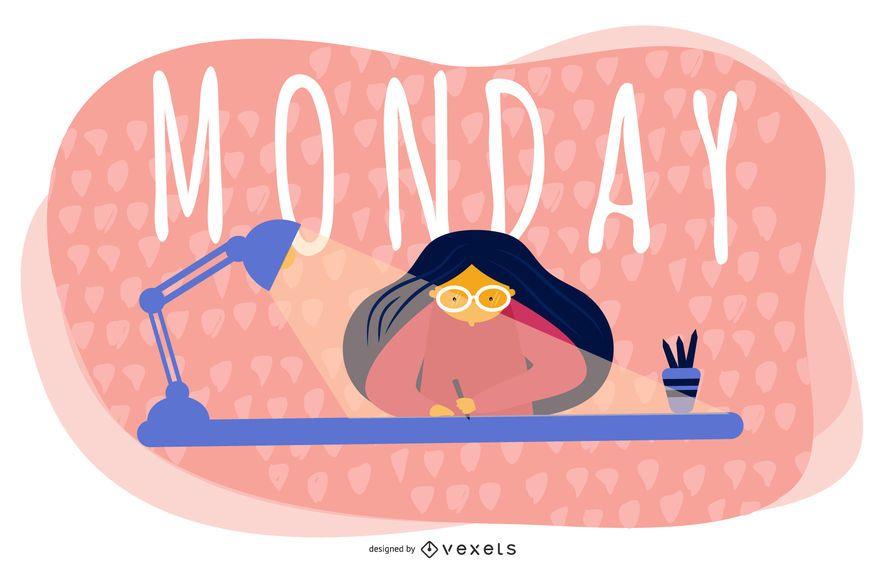 Diseño de ilustración de dibujos animados de lunes