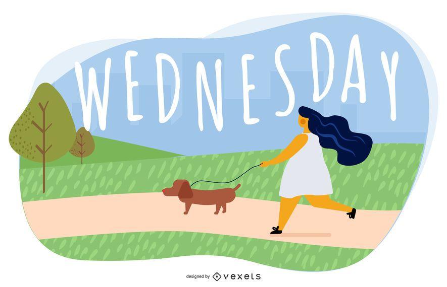Wednesday Cartoon Illustration Design