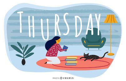 Thursday Cartoon Illustration Design