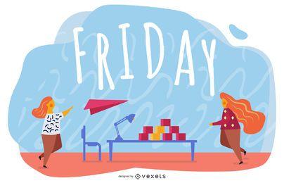 Friday Cartoon Illustration Design