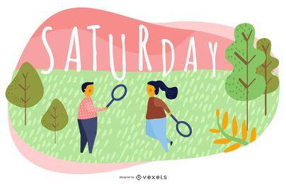 Saturday Cartoon Illustration Design
