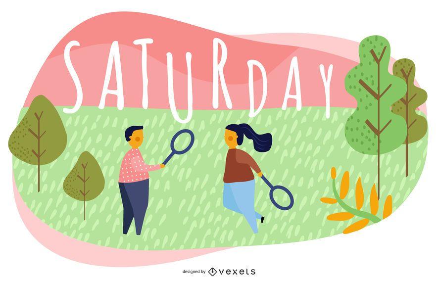 Diseño de ilustración de dibujos animados sábado