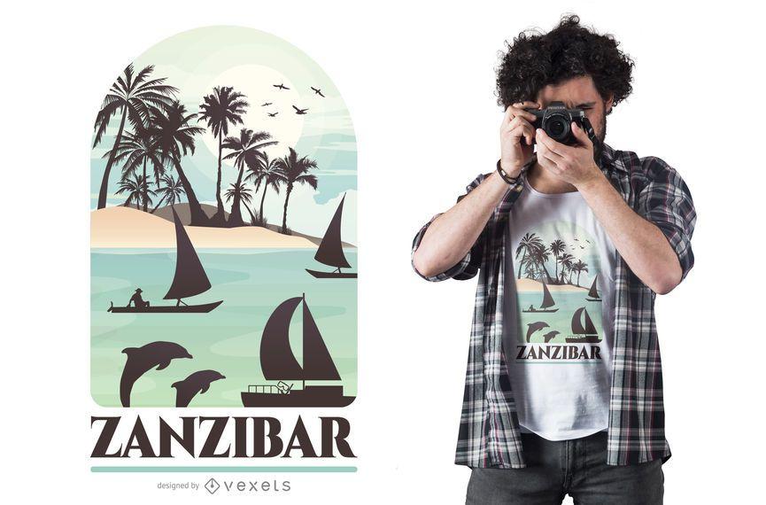 Projeto do t-shirt da ilha de Zanzibar