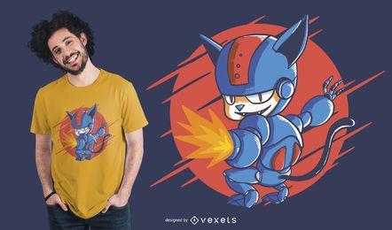 Diseño de camiseta gato Cyborg