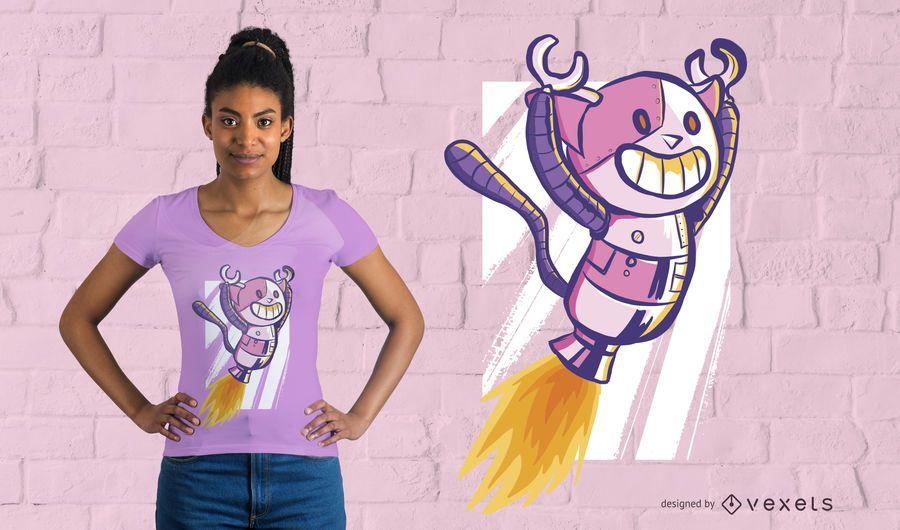Robot gatito volando camiseta de diseño