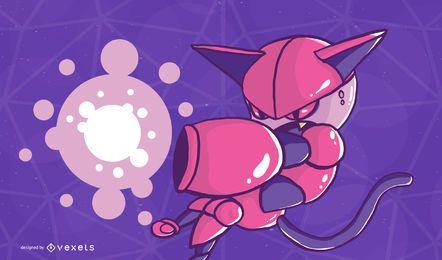 Ilustración de gato cyborg