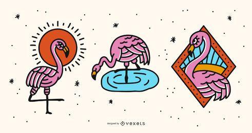 Conjunto de vectores de ilustración de flamenco