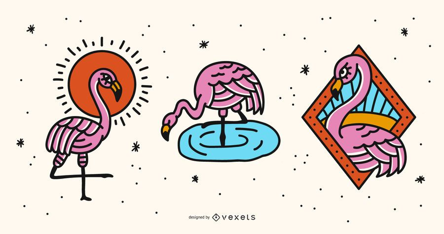 Flamingo-Illustrations-Vektor-Satz