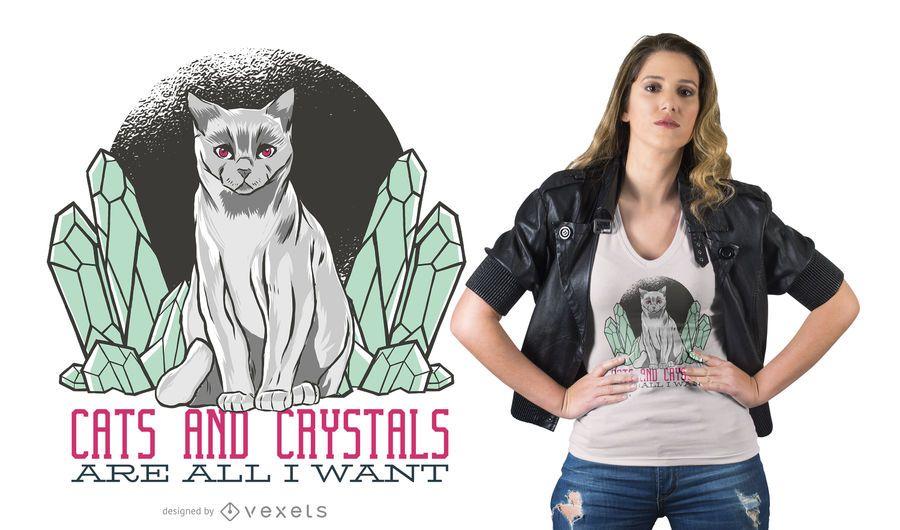 Design de camiseta de gato de cristal