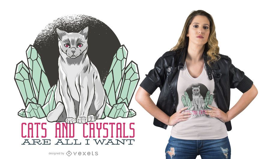 Diseño de camiseta Crystal Cat